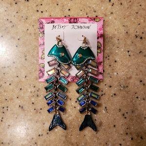 NWT Betsey Johnson Fish Dangly Earrings